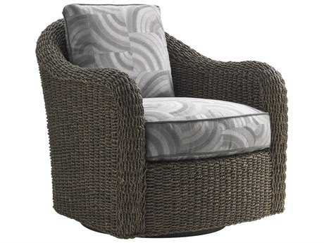 Lexington Oyster Bay Seabury Misty Gray Swivel Loose Back Accent Chair