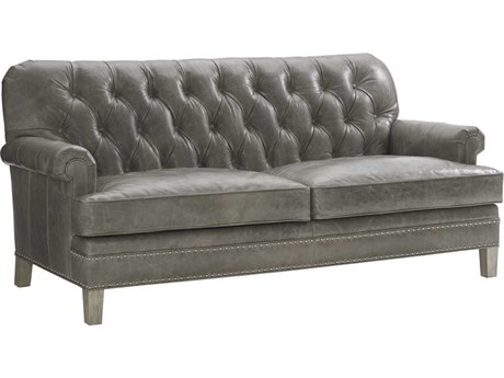 Lexington Oyster Bay Hillstead Leather Millstone Tufted Back Settee