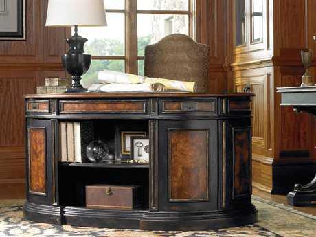 Luxe Designs Black with Gold Accents 60''L x 30''W Demilune Executive Desk