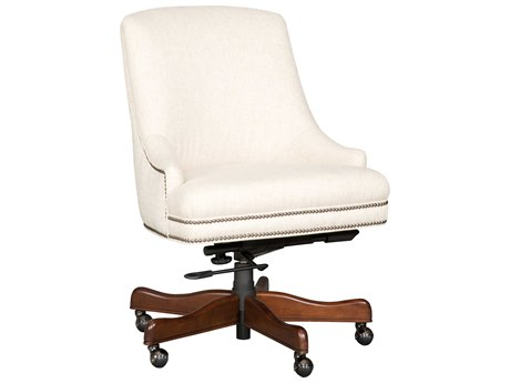 Luxe Designs Linen Dark Wood Executive Swivel Tilt Chair