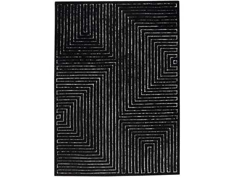 MA Trading The Basics Toledo Rectangular Black White Area Rug