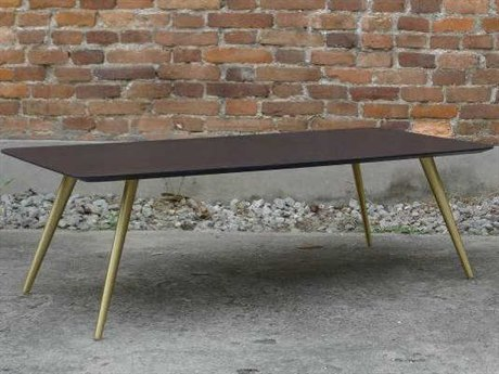 m.a.d. Furniture Design Airfoil Walnut / Brushed Brass 47'' x 24'' Rectangular Coffee Table