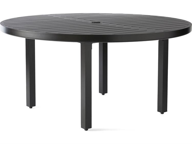 Mallin Trinidad 3000 Series Aluminum 60 Wide Round Slatted Top Dining Table With Umbrella Hole Mal3060u