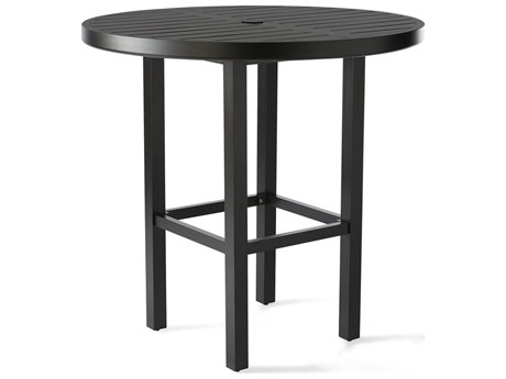 Mallin Trinidad 3000 Series Aluminum 42'' Wide Round Slatted Top Bar Height Table with Umbrella Hole
