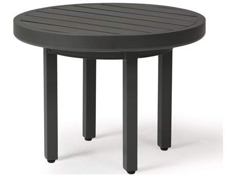 Mallin Trinidad 3000 Series Aluminum 24'' Wide Round Slatted Top End Table
