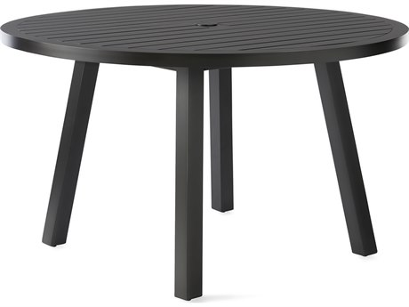 Mallin Kensington Aluminum 50'' Wide Round Slatted Top Dining Table with Umbrella Hole PatioLiving