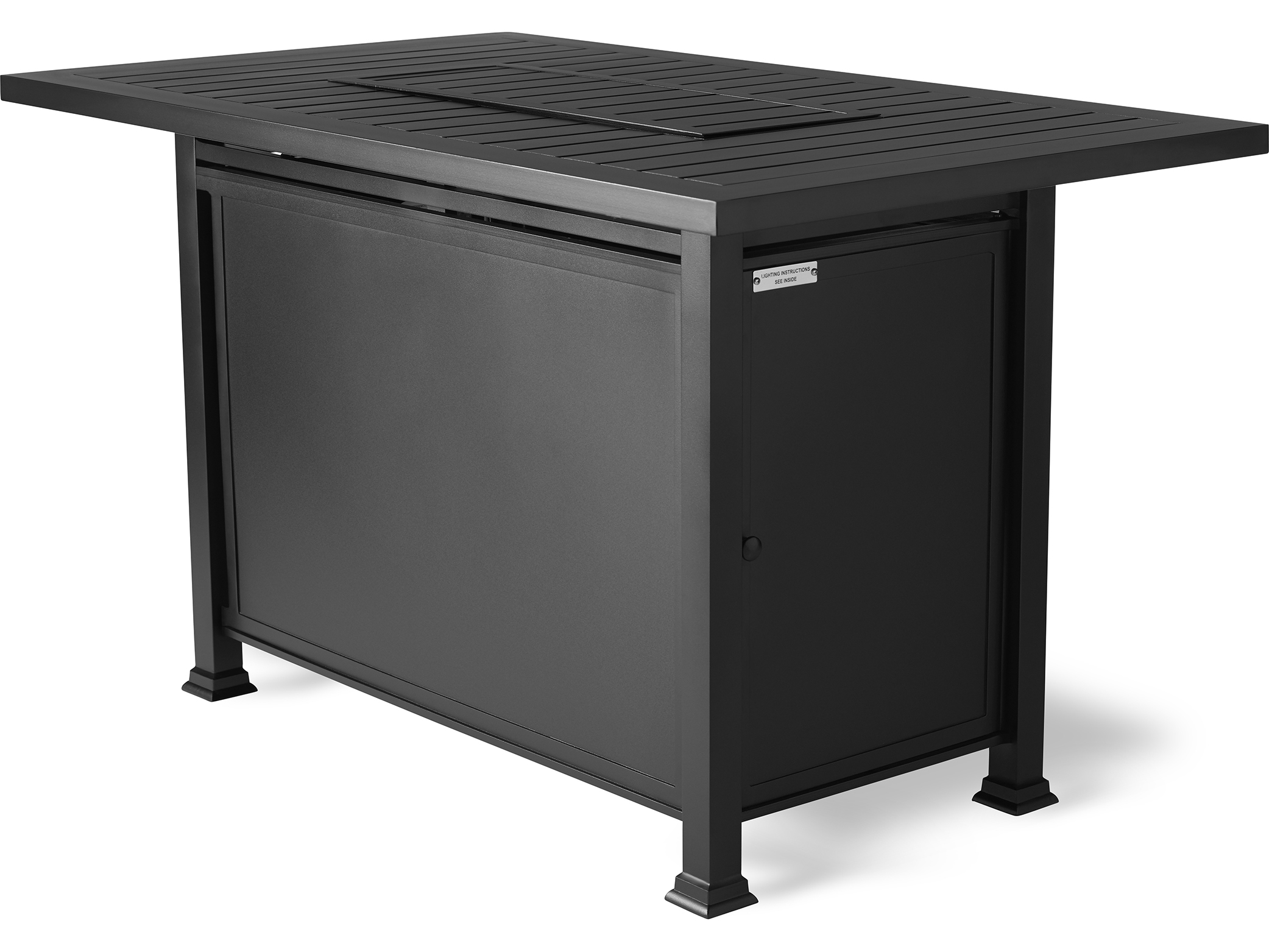 Picture of: Mallin Pasa Robles Aluminum 57 75 W X 36 D Rectangular N Slatted Top Counter Height Fire Pit Table Lf265 N260f