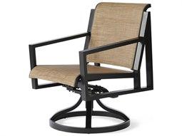 Mallin Madeira Sling Aluminum Swivel Rocker Dining Arm Chair