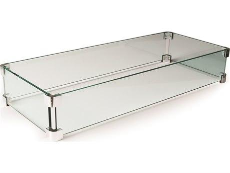 Mallin Firepit Accessories 36.69'' W x 14.13'' D Rectangular Glass Guard