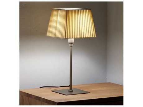 Marset Cotton Matte Nickel Table Lamp with Off White Shade
