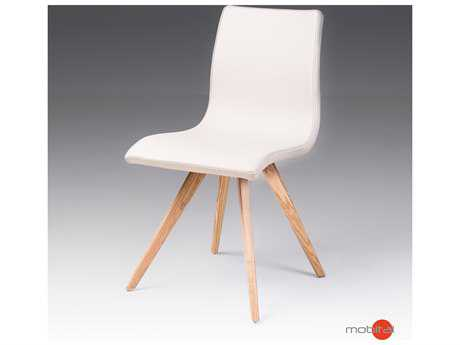 Mobital Berton Set of Two White Leatherette Dining Chairs