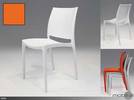 Mobital Vata Set of Four Orange Stackable  Set of Four Dining Side Chairs