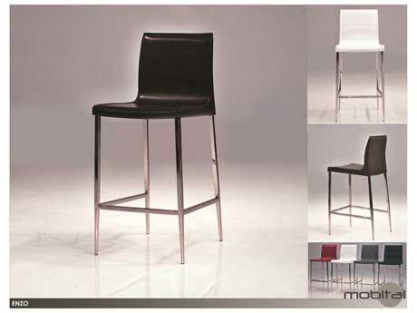 Mobital Enzo Set of Two White Leather Counter Stools