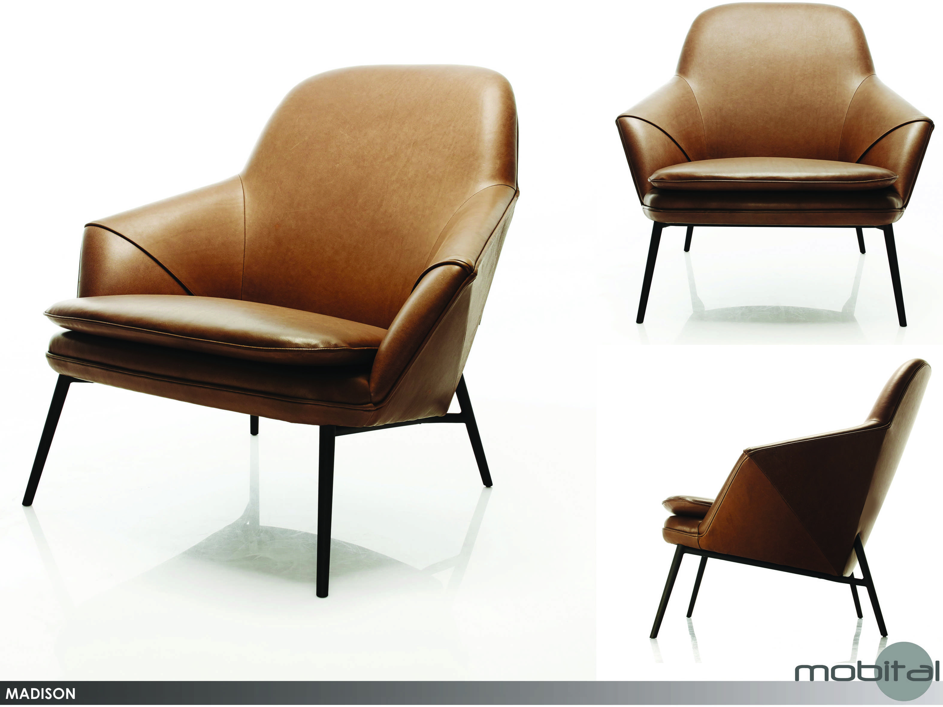 Mobital Madison Cognac Leather Arm Chair Mblchmadicogn