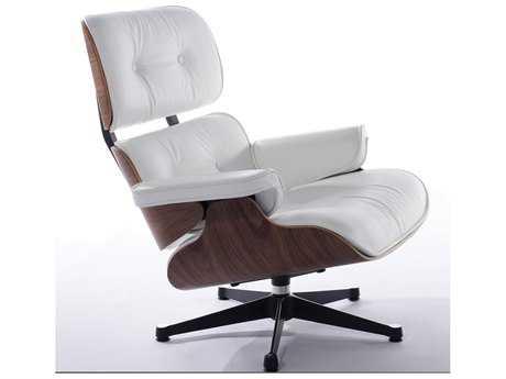Mobital Manhattan White Leather & Walnut Arm Chair