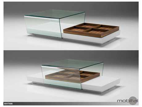 Mobital Rhythm White Sliding Glass 55 x 31 Coffee Table