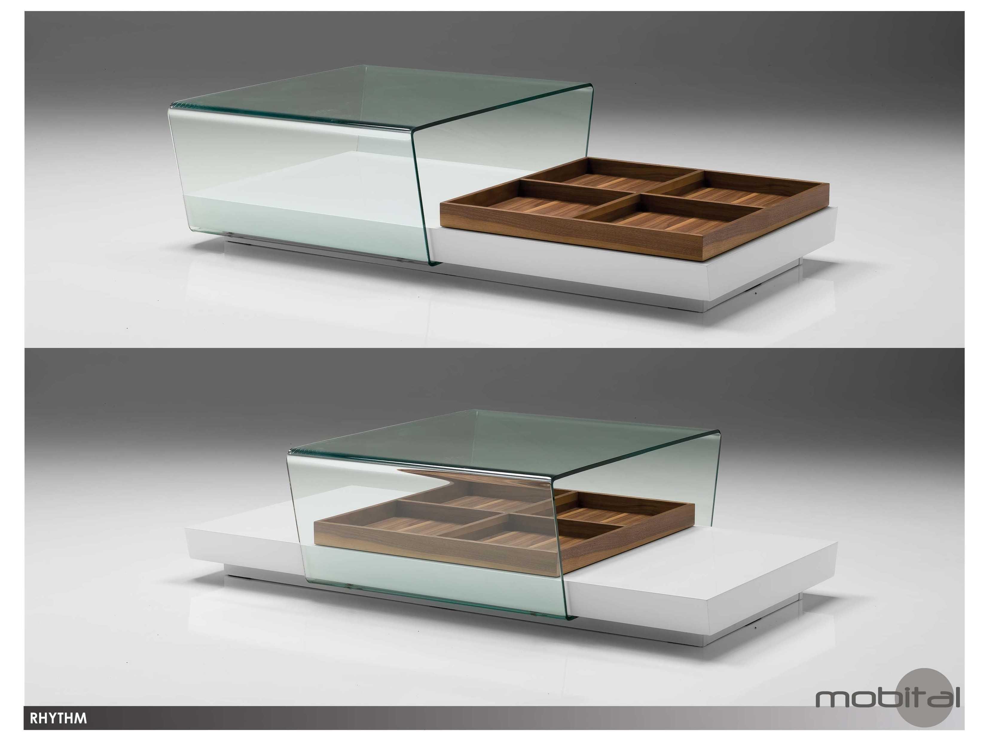 Mobital Rhythm White Sliding Glass 55 X 31 Coffee Table Mblcorhytwhitwalnu