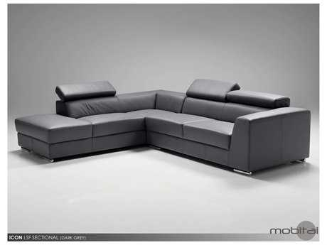 Mobital Icon Dark Grey Leather Sectional Left Chaise