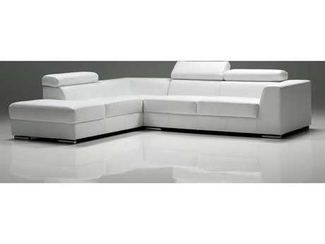 Mobital Icon White Premium Leather Sectional Left Chaise'