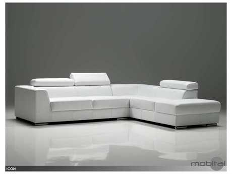 Mobital Icon White Leather Sectional Right Chaise