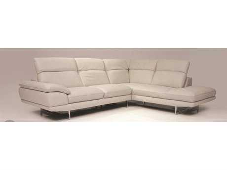 Mobital Uptown Light Grey Leather Sectional Right Chaise