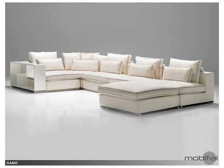 Mobital Gamo White and Brown Armless Seactional Seater (Two-Piece)