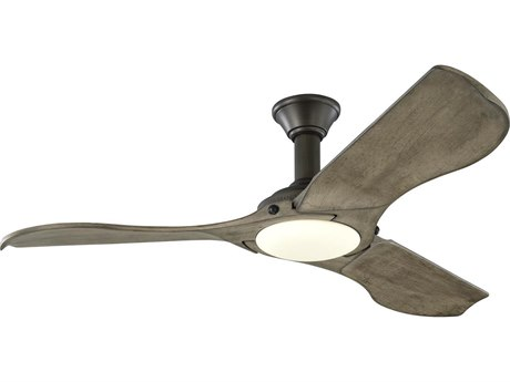 Monte Carlo Fans Minimalist Aged Pewter 56'' Wide LED Indoor / Outdoor Ceiling Fan with Light Grey Weathered Oak Blades