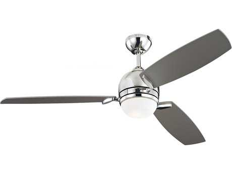 Monte Carlo Fans Muirfield Polished Nickel 52'' Wide Indoor Ceiling Fan with Light