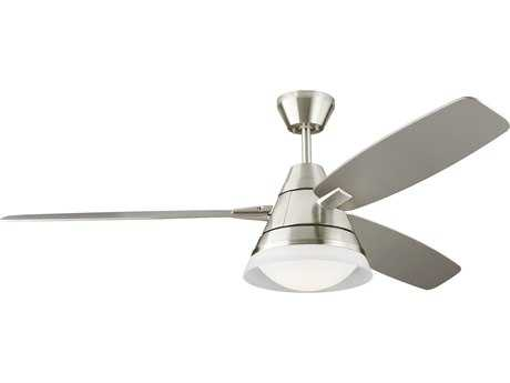 Monte Carlo Fans Nord Brushed Steel & Silver Blades 54'' Wide Indoor Ceiling Fan with LED Light