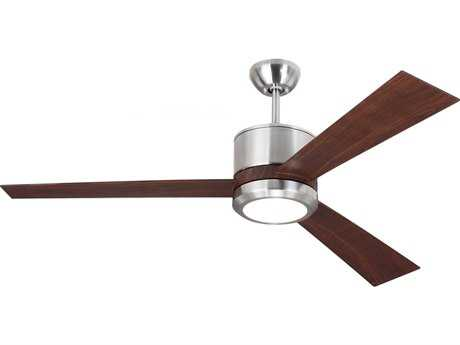 Monte Carlo Fans Vision Brushed Steel 52'' Wide Indoor Ceiling Fan with LED Light