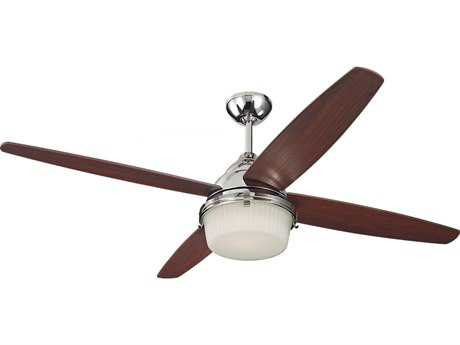 Monte Carlo Fans Mondeo Polished Nickel 52'' Wide Indoor Ceiling Fan with Light