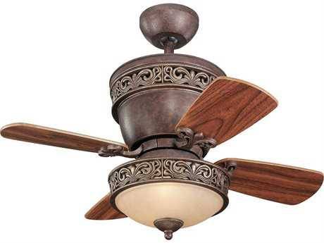 Monte Carlo Fans Villager Tuscan Bronze Two-Light 28'' Wide Indoor Ceiling Fan with Light
