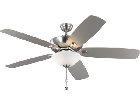 Monte Carlo Fans Colony Super Max Plus Brushed Steel & American Walnut Blades Three-Light 60'' Wide Indoor/Outdoor Ceiling Fan MCF5CSM60BSD