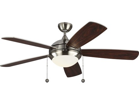 Monte Carlo Fans Discus Classic Brushed Steel 52'' Wide LED Indoor Ceiling Fan with Silver / American Walnut reversible blades Blades
