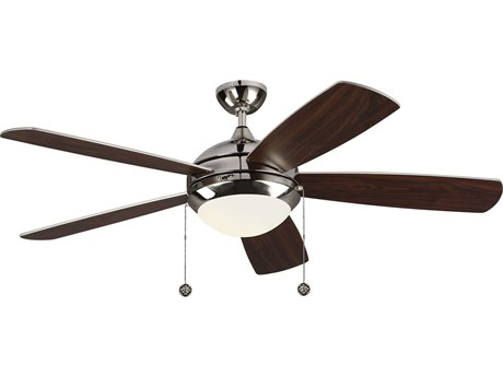 Monte Carlo Fans Discus Classic Polished Nickel 52'' Wide LED Indoor Ceiling Fan with Silver / American Walnut reversible blades Blades