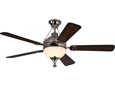 Monte Carlo Fans Essex Polished Nickel 54'' Wide Indoor Ceiling Fan with LED Light