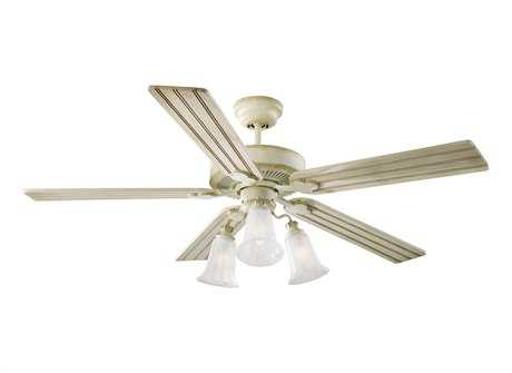 Monte Carlo Fans Old School Distressed White Three-Light 52'' Wide Indoor Ceiling Fan