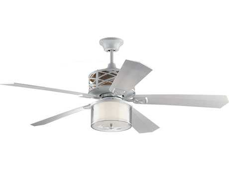 Monte Carlo Fans Piper Rubberized White 54'' Wide Indoor Ceiling Fan with LED Light