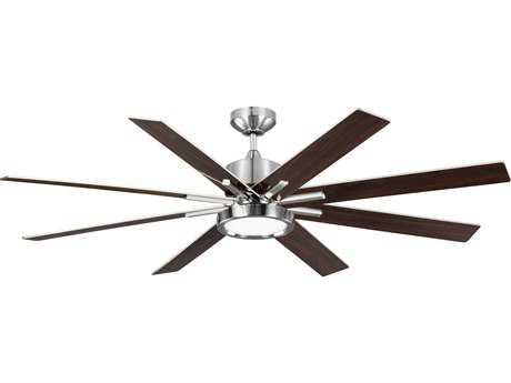 Monte Carlo Fans Empire DR Brushed Steel & Gloss Walnut and SIlver Blades 60'' Wide Indoor/Outdoor Ceiling Fan with LED Light