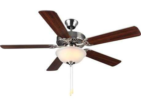 Monte Carlo Fans HomeBuilder II Brushed Steel 52'' Wide Indoor Ceiling Fan with Light