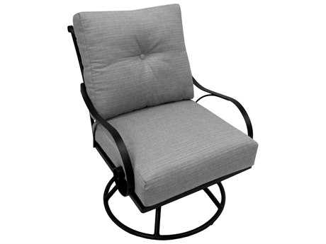 Meadowcraft Monticello Deep Seating Wrought Iron Swivel Rocker Lounge Chair