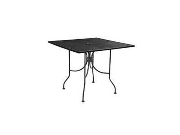 Meadowcraft Wrought Iron 36 Square Micro Mesh Table with Umbrella Hole