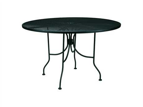 Meadowcraft Mesh Wrought Iron 36''Wide Round Dining Table with Umbrella Hole