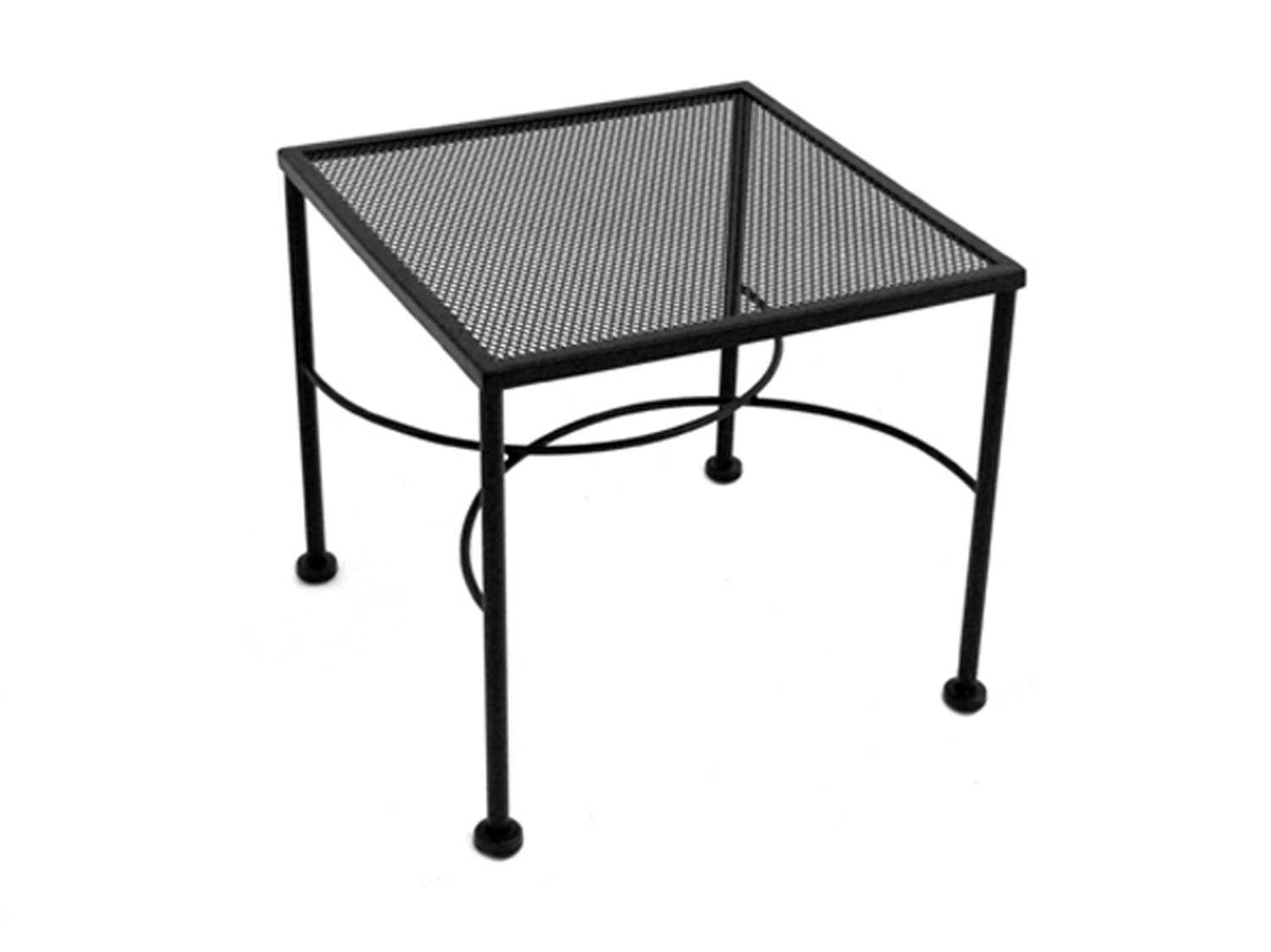 Meadowcraft wrought iron 20 square micro mesh end table for Square wrought iron coffee table