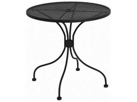 Meadowcraft Mesh Wrought Iron 30''Wide Round Bistro Table with Umbrella Hole
