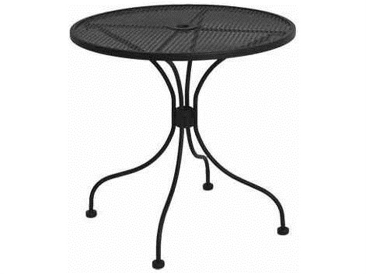 Meadowcraft Mesh Wrought Iron 30''Wide Round Bistro Table with Umbrella Hole PatioLiving
