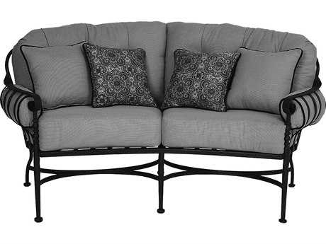 Meadowcraft Athens Wrought Iron Deep Seating Crecent Loveseat