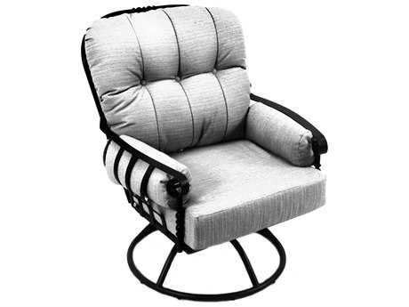 Meadowcraft Athens Wrought Iron Deep Seating Swivel Rocker Lounge Chair PatioLiving