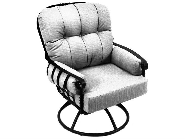 Meadowcraft Athens Wrought Iron Deep Seating Swivel Rocker Lounge Chair