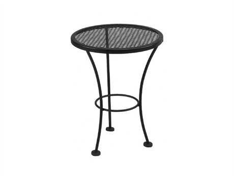 Meadowcraft  Wrought Iron 16''Wide Round Mesh Top Drum Table